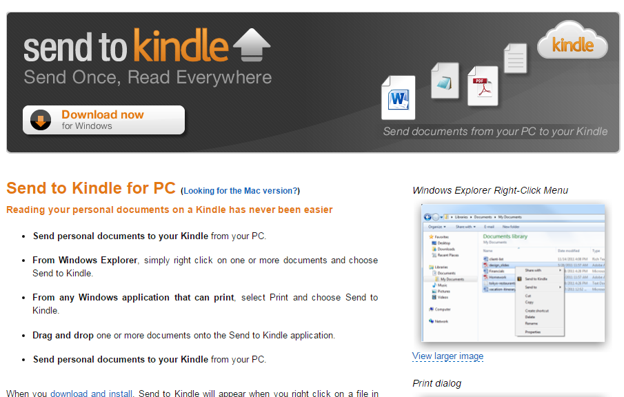 Send To Kindle for PC website
