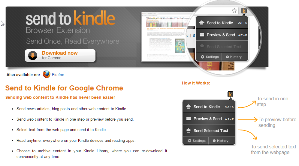 Send To Kindle for Chrome Web Page