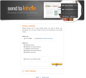 Send To Kindle for Chrome Setup