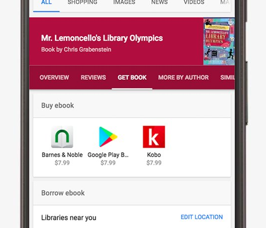 Google search now shows eBooks in local libraries