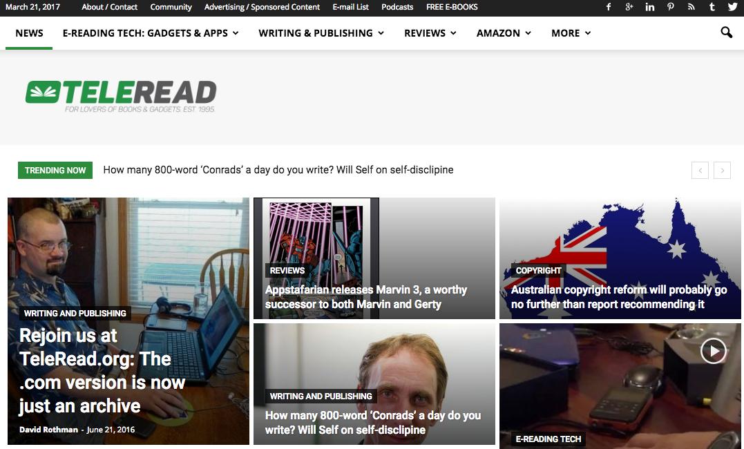 Teleread Blog Screenshot