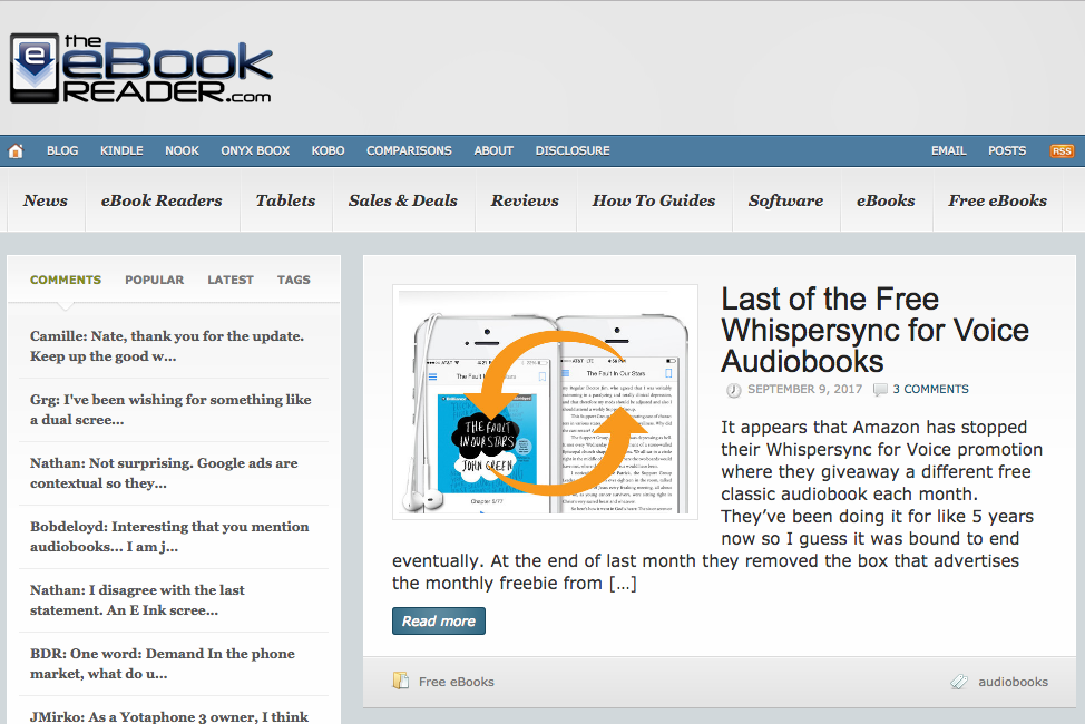 The eBook Reader Blog Screenshot