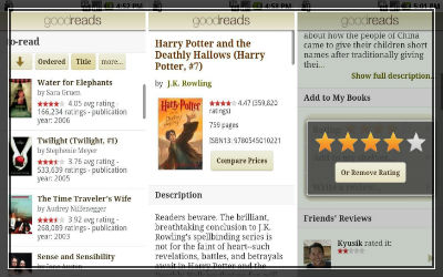 Goodreads popular app for book readers screenshot
