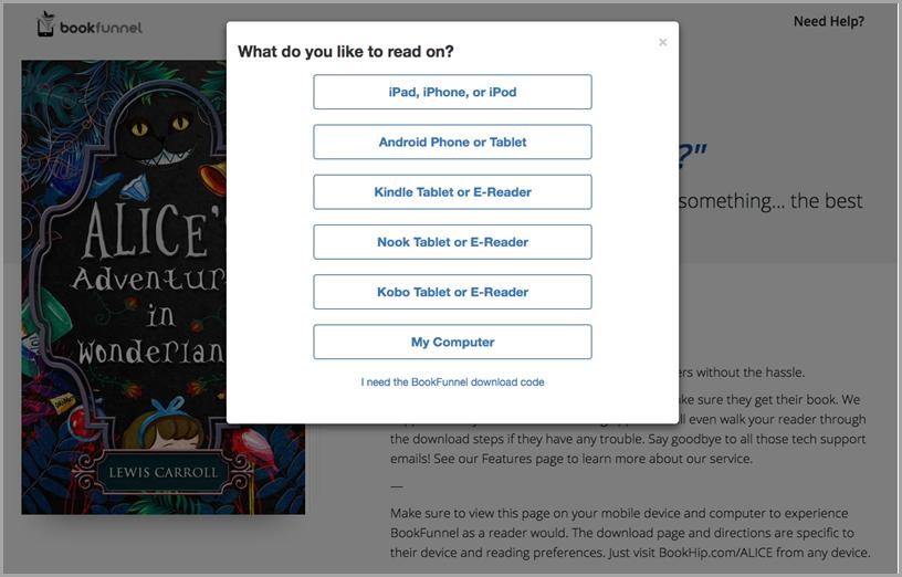 Bookfunnel screenshot
