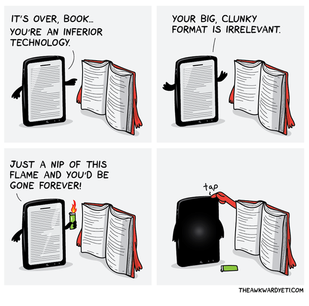 Ebooks vs Physical books comic strip
