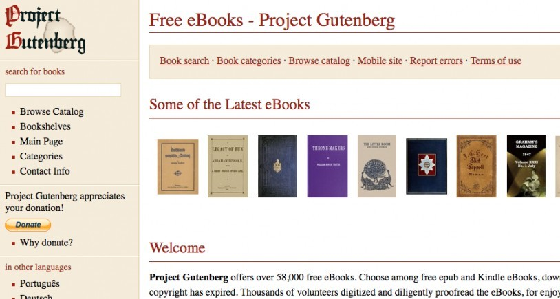 Project Gutenber screenshot
